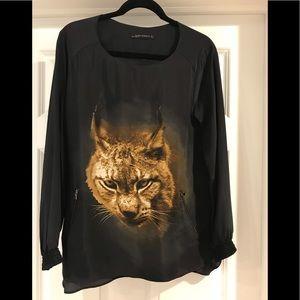 "Zara ""animal"" blouse, size large"
